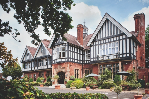 Laura Ashley Hotel The Iliffe, Coventry front of the black and white Tudor-style mansion